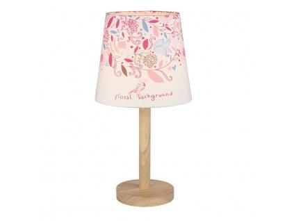 Stolní lampa, dřevo/látka vzor květy, QENNY TYP 8