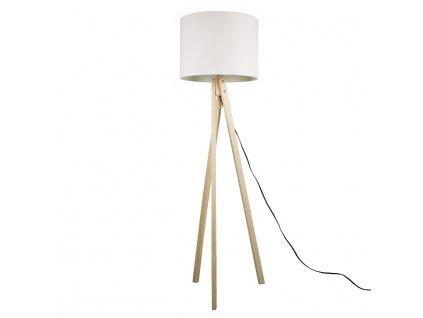 Bílá stojací lampa s dřevěnou trojnožkou LILA TYP 6