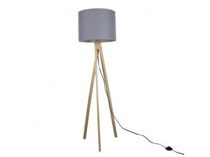 Šedá stojací lampa s dřevěnou trojnožkou LILA TYP 7