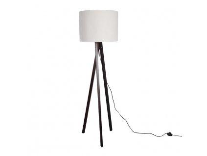 Bílá stojací lampa s dřevěnou trojnožkou LILA TYP 9