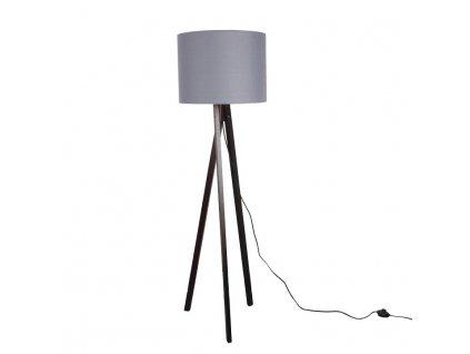 Stojací lampa, šedá / dřevo černé, LILA TYP10