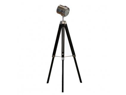 Stojací lampa, černé dřevo / kov, CINDY TYP 26