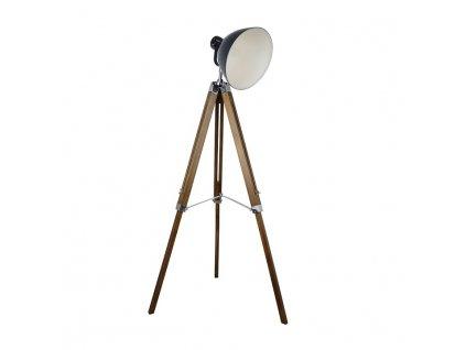 Černá stojací lampa s dřevěnou trojnožkou CINDA TYP 27