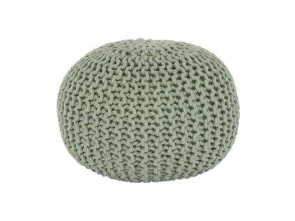 Pletený taburet, světle zelená bavlna, GOBI TYP 2