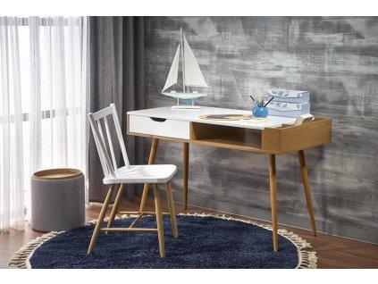 Íróasztal B45, fehér/arany tölgy