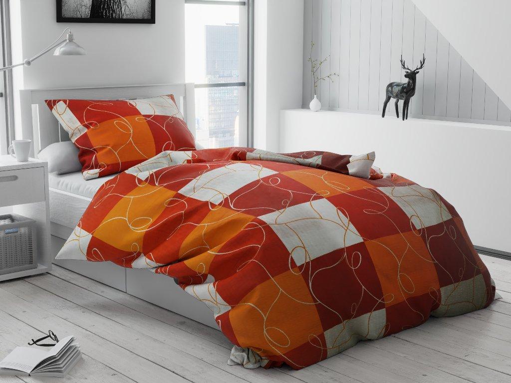 Krepové povlečení Šachy Oranžové (Rozměr povlečení 70x90 cm; 140x220 cm)