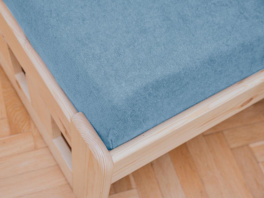 prostěradlo bavlněné froté dvoulůžko 200 x 220 cm modré