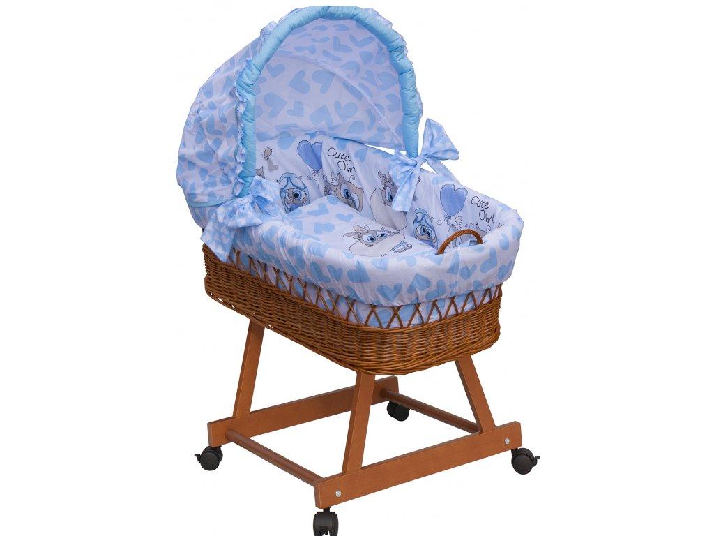 Proutěný košík na miminko s boudičkou Scarlett Kulíšek - modrá