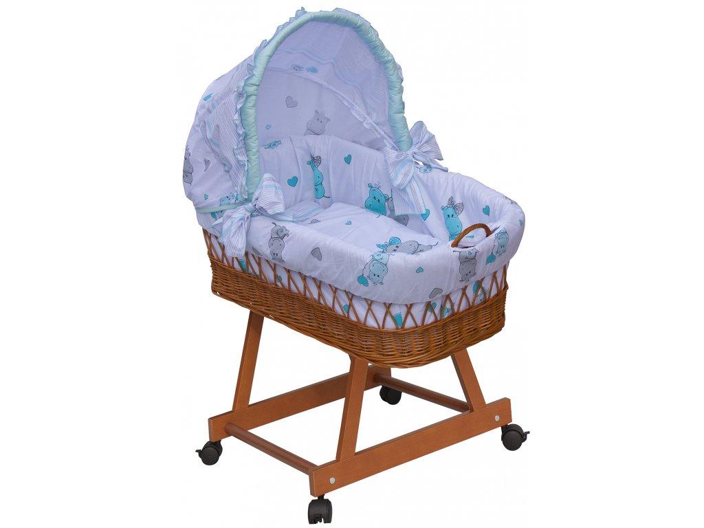 Proutěný košík na miminko s boudičkou Scarlett Pupis - modrá