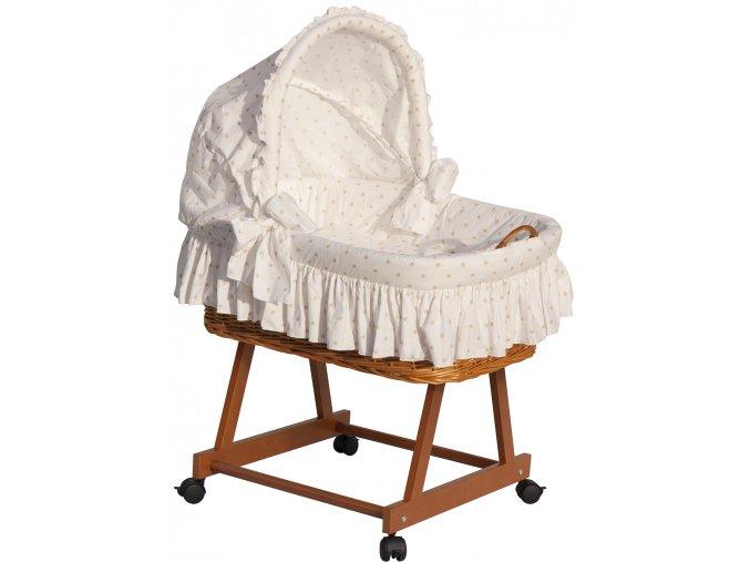 Proutěný koš na miminko s boudičkou HVĚZDIČKA - béžová