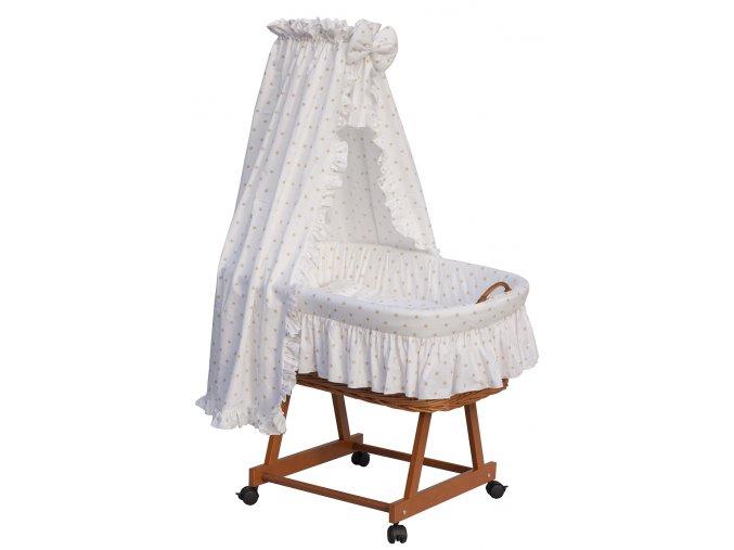 Proutěný koš na miminko s nebesy HVĚZDIČKA - bílá