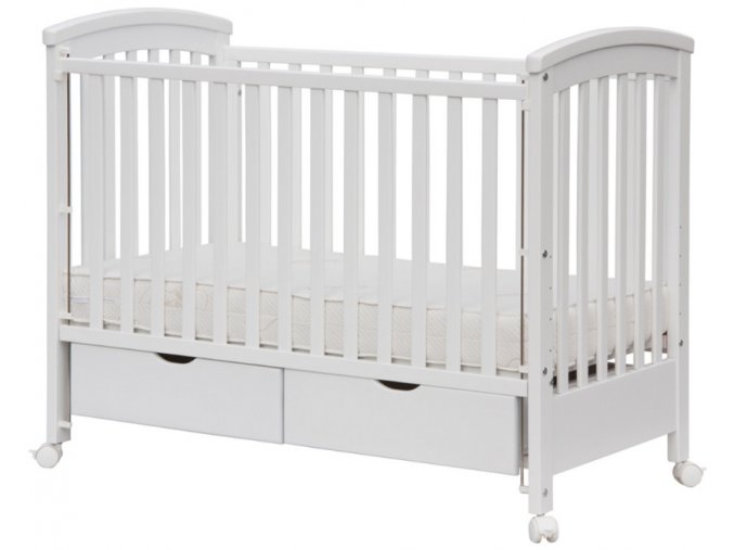 Dětská postýlka Scarlett NINA se dvěma šuplíky - bílá 120 x 60 cm - bazar