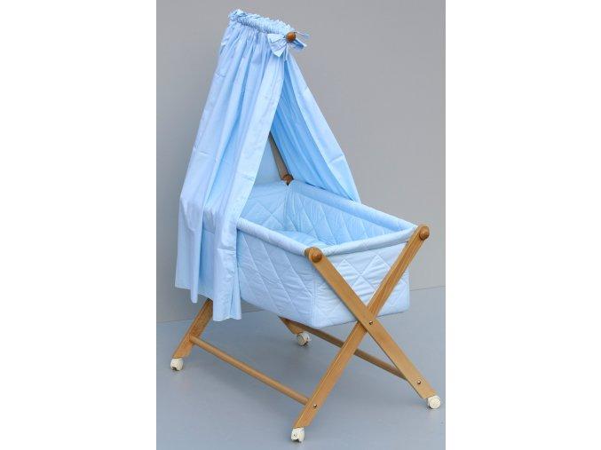 Dětská kompletní postýlka s textilním košem - modrá - bazar