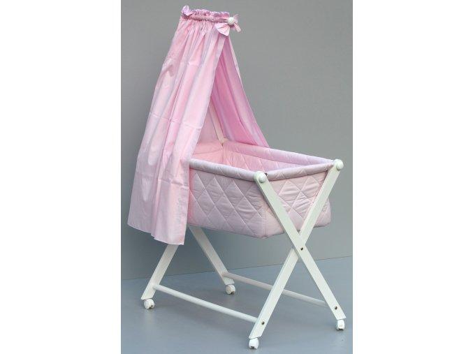 Dětská kompletní postýlka s textilním košem - růžová - bazar