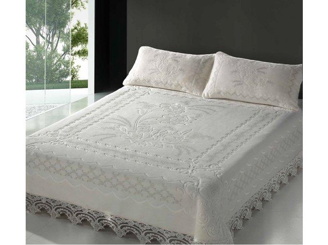 Španělská deka Romantic 810 - bílá, 220x240 cm + 2potahy na polštářky 50x70cm