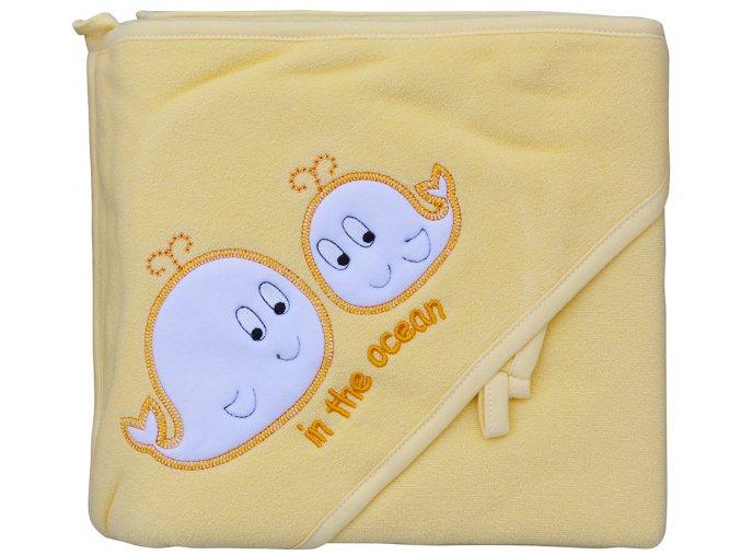 Froté ručník - Scarlett velryby s kapucí - žlutá