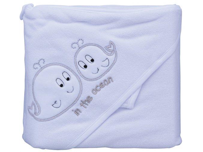 Froté ručník - Scarlett velryby s kapucí - bílá