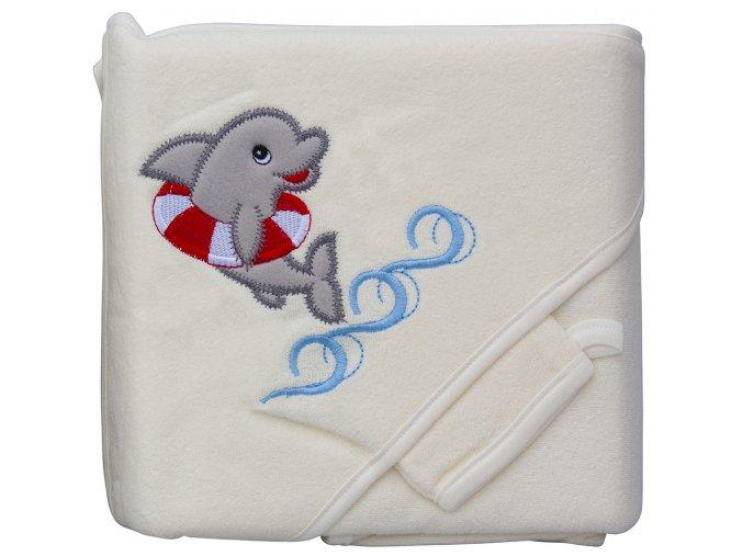 Froté ručník - Scarlett delfín s kapucí - béžová