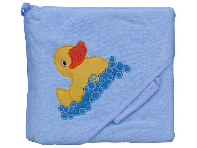Froté ručník - Scarlett kačenka s kapucí - modrá