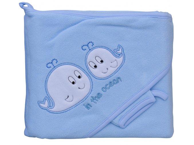 Froté ručník - Scarlett velryby s kapucí - modrá
