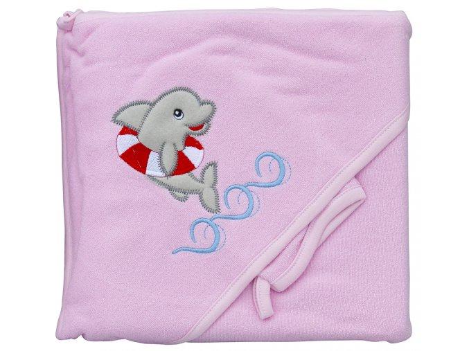 Froté ručník - Scarlett delfín s kapucí - růžová