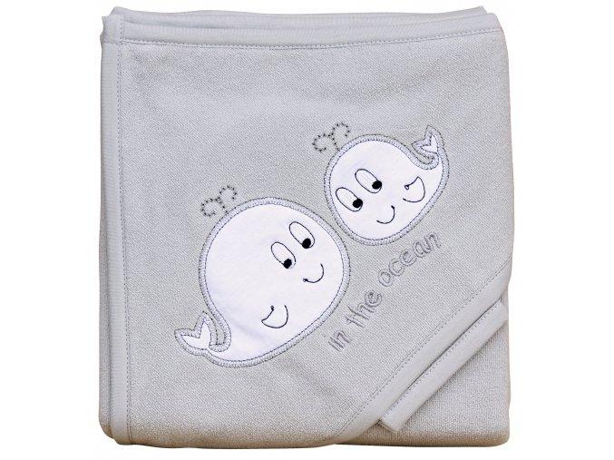 Froté ručník - Scarlett velryby s kapucí - šedá