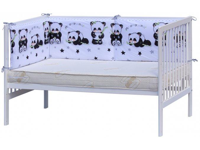 Mantinel do postýlky 4dílný - Scarlett Panda - 210 x 40 cm - bílá