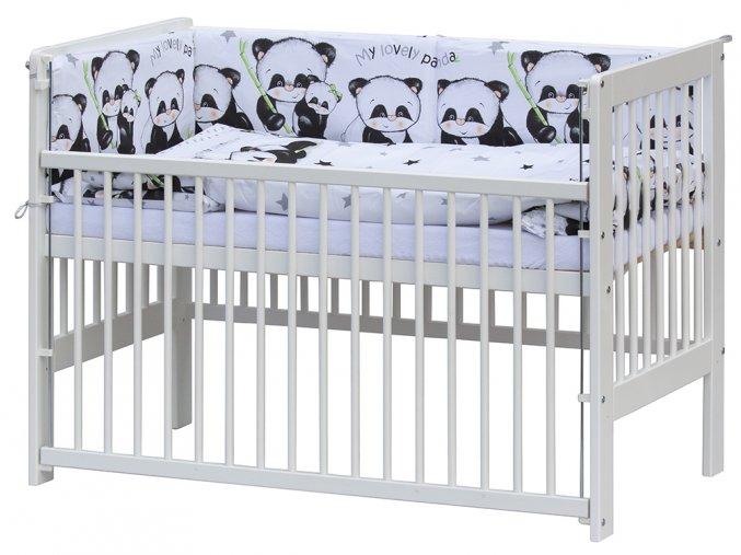 Postýlka 120 x 60 cm s kompletní výbavou Scarlett Panda - bílá
