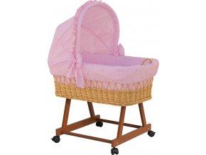 Proutěný koš pro miminko s boudičkou Méďa - růžový
