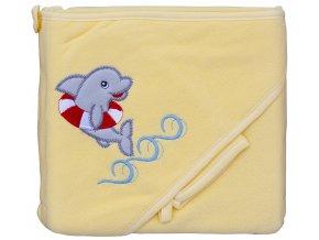 Froté ručník - Scarlett delfín s kapucí - žlutá