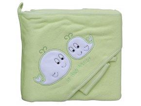 Froté ručník - Scarlett velryby s kapucí - zelená