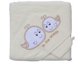 Froté ručník - Scarlett velryby s kapucí - béžová