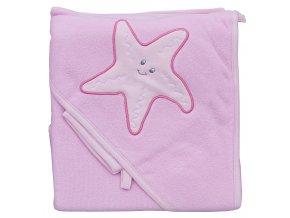 Froté ručník - Scarlett hvězda s kapucí - růžová