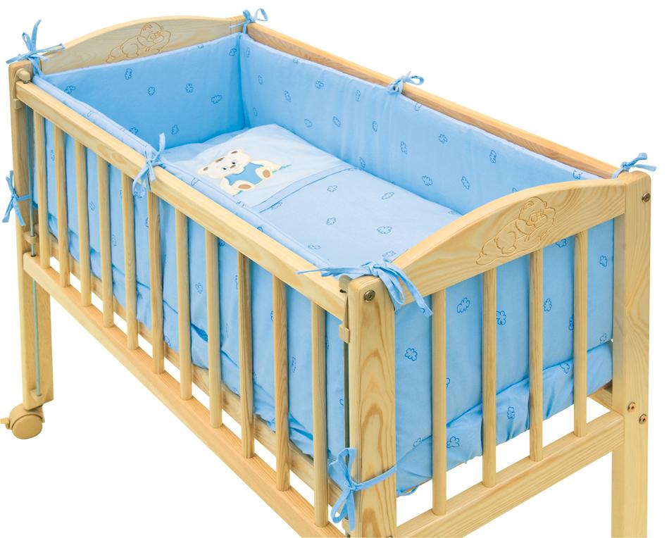 Scarlett, 7dílná souprava do postýlky Scarlett Baby MÉĎA 90 x 41 cm - modrá