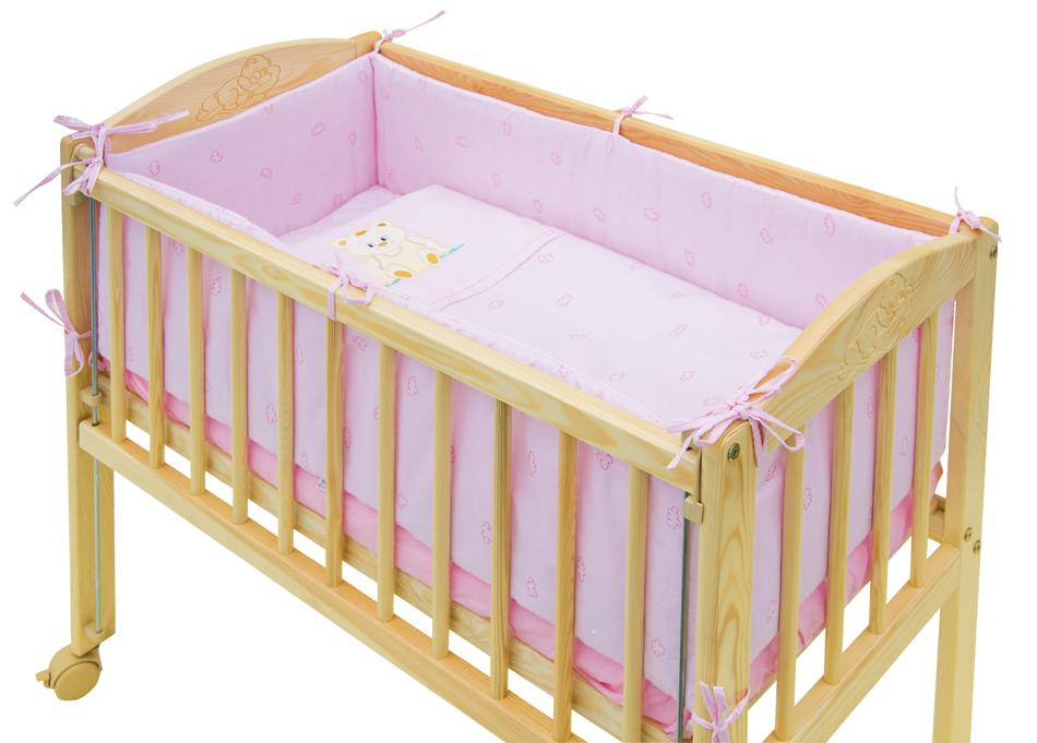 Scarlett, 7dílná souprava do postýlky Scarlett Baby MÉĎA 90 x 41 cm - růžová