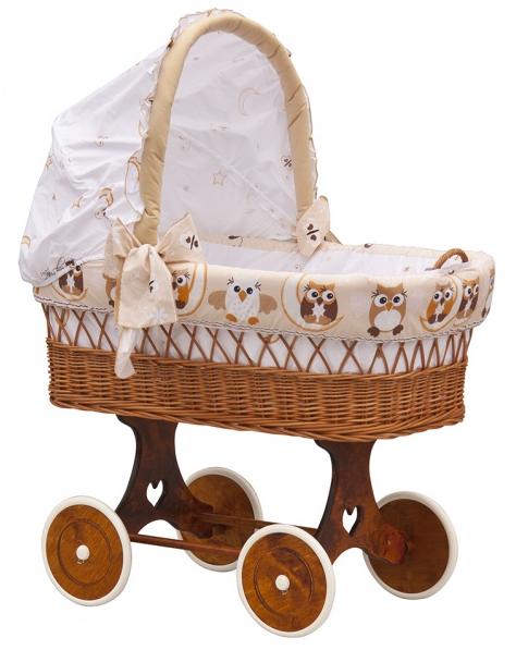 Boudička k proutěnému koši na miminko Scarlett Sovička béžová