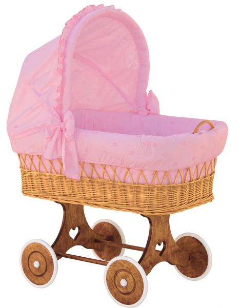 Boudička k proutěnému koši na miminko Scarlett Méďa růžová