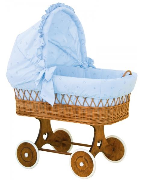 Boudička k proutěnému koši na miminko Scarlett Méďa modrá