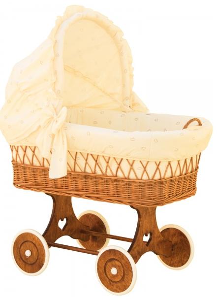 Boudička k proutěnému koši na miminko Scarlett Méďa béžová