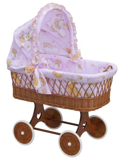 Boudička k proutěnému koši na miminko Scarlett Mráček růžová