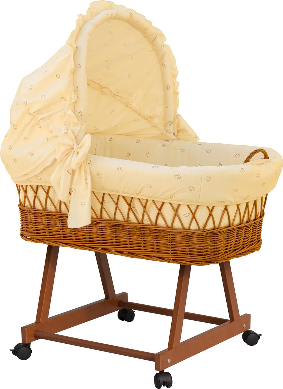 Proutěný koš pro miminko s boudičkou Méďa - béžový