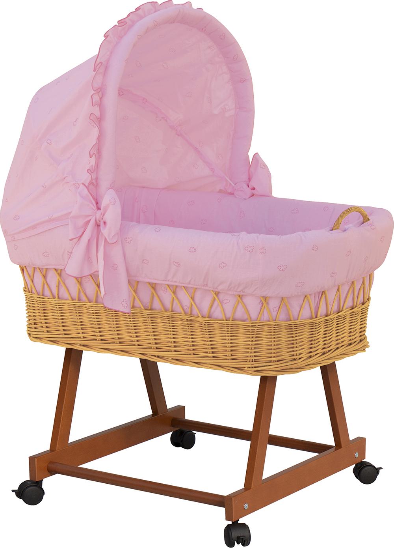 Scarlett, Proutěný koš pro miminko s boudičkou Méďa - růžový