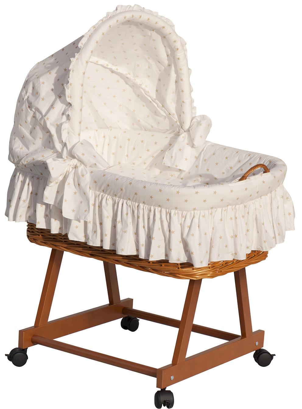 Proutěný koš na miminko s boudičkou Scarlett HVĚZDIČKA bílá