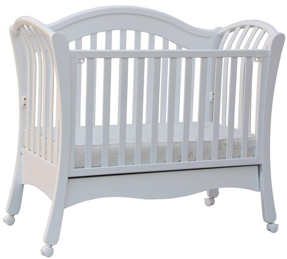 Scarlett, Dětská postýlka se šuplíkem a odnímatelnou bočnicí - Scarlett VALENCIE - (buk) - bílá 120 x 60 cm