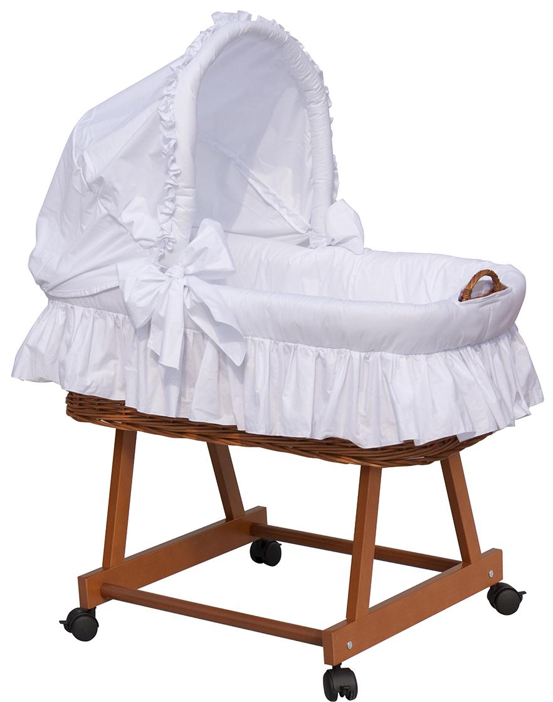 Proutěný koš na miminko s boudičkou Scarlett Péťa bílý