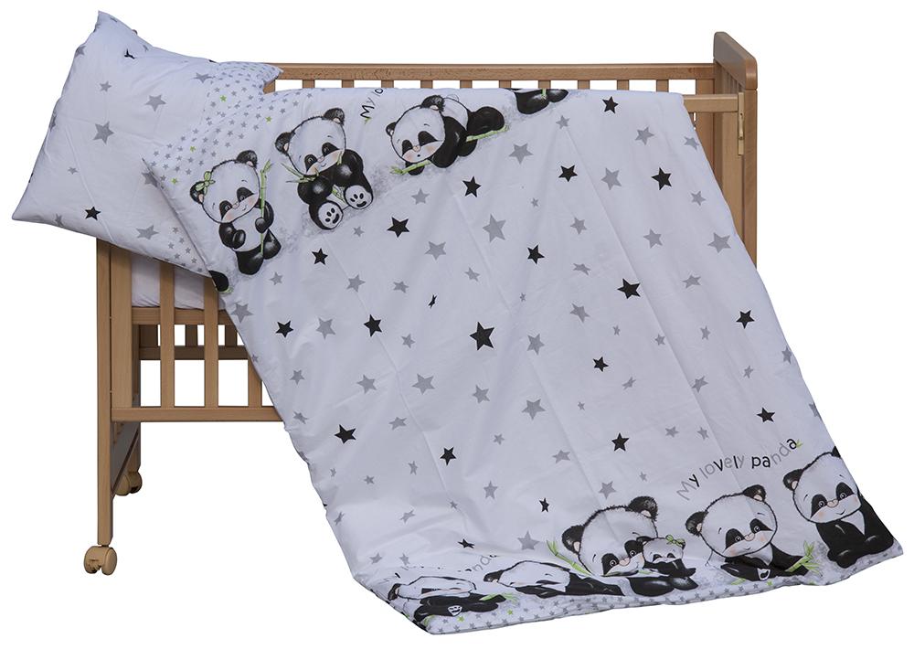 Povlečení do postýlky 2dílné Scarlett Panda - bílá  100 x 135  cm