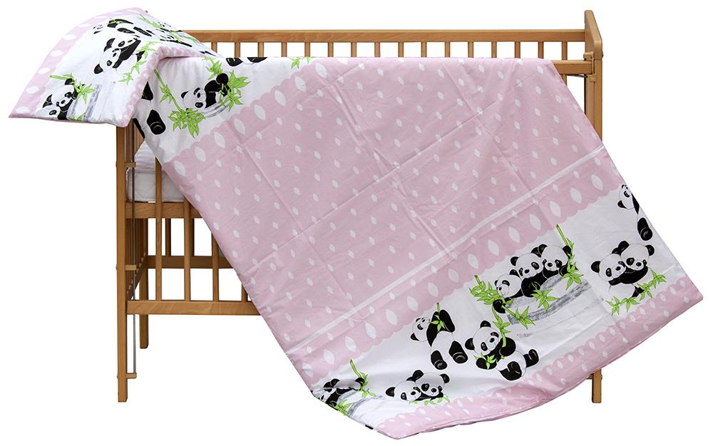 Scarlett, Dětské povlečení 2dílné Scarlett Panda - růžová 100 x 135 cm