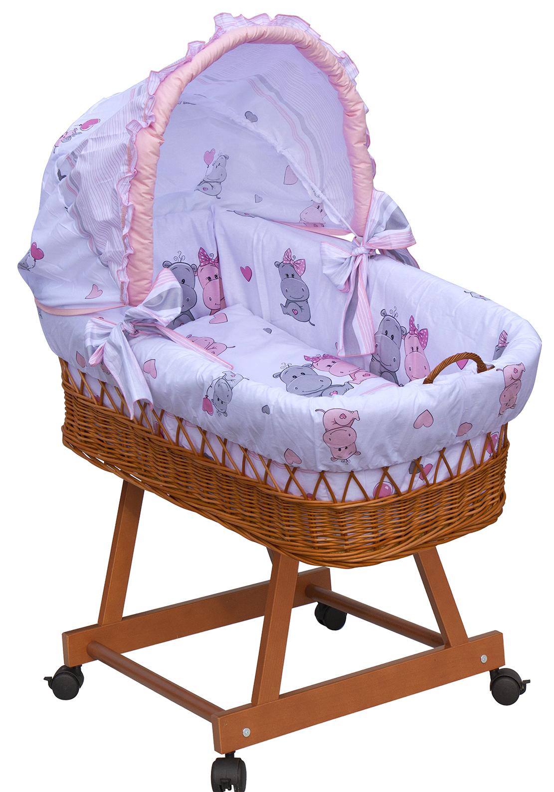 Proutěný košík na miminko s boudičkou Scarlett Pupis - růžová