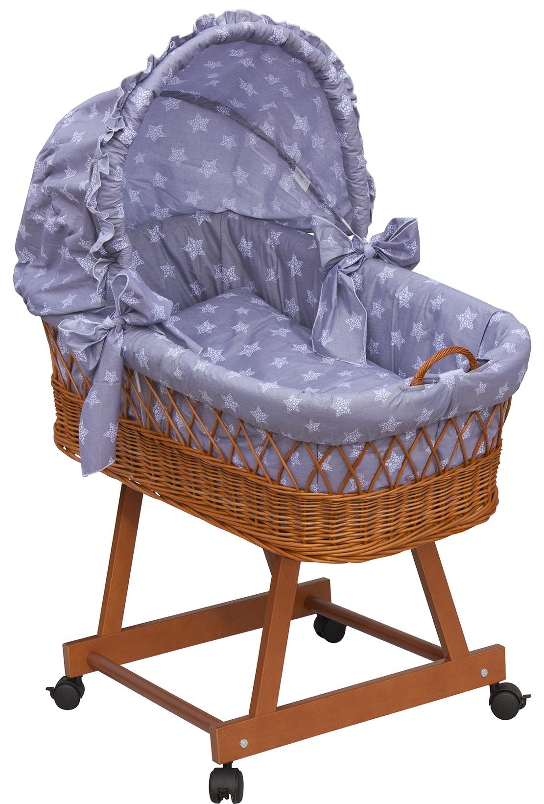 Proutěný košík na miminko s boudičkou Scarlett hvězdička - šedá