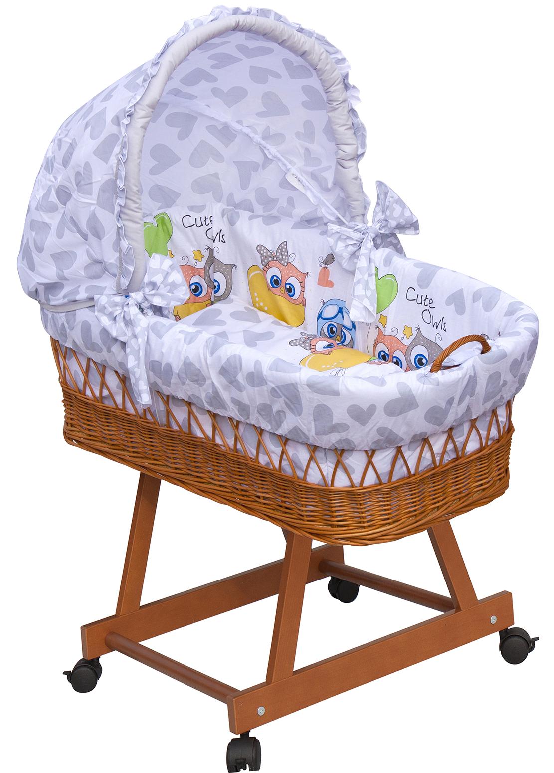 Proutěný košík na miminko s boudičkou Scarlett Kulíšek - šedá